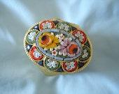 Italian Vintage Millefiori Mosaic Glass Tile Floral Pill Box/Trinket Box
