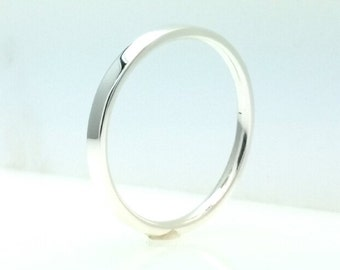 Sterling Silver Flat Wedding Band Full Polish 2mm Comfort Line All Us Sizes
