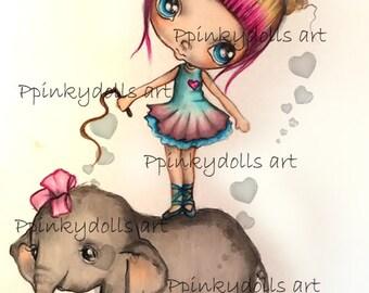 INSTANT DOWNLOAD Digital Digi Stamps..by Chrishanthi's art,Circus elephant''