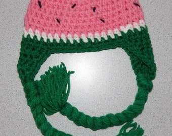 Crochet Watermelon Hat with Earflaps and Tassels, Watermelon Hat, Baby Costume, Newborn Photo Prop, Photography Prop,