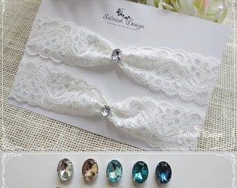 Lace Garter Set, Something Blue Wedding Lace Garter, Blue Rhinestone Garter, Lace Garter Set -Color Options-code:G143wCubic