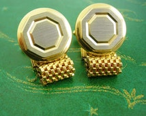 Vintage wedding  gold silver cufflinks mesh wrap engravable personalized mens jewelry Groom