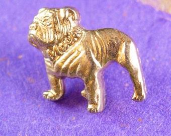 Vintage BULLDOG Tie Tack marine College football mascot Lapel Pin Figural Epinglette mack truck Clutch dog figural pet lover military