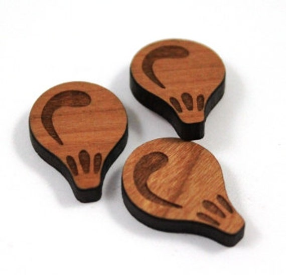 Laser Cut Supplies-8 Pieces.Hot Air Balloon Charms - Laser Cut Wood Hearts-Earring Supplies- Little Laser Lab Sustainable Wood Products