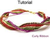 Beading Tutorial Pattern Bracelet - Square Stitch - Simple Bead Patterns - Curly Ribbon #10464