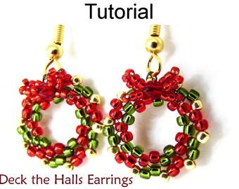 Beading Tutorial Pattern Earrings - Christmas Holiday Wreath Circular Peyote Stitch - Simple Bead Patterns - Deck the Halls Earrings #10528