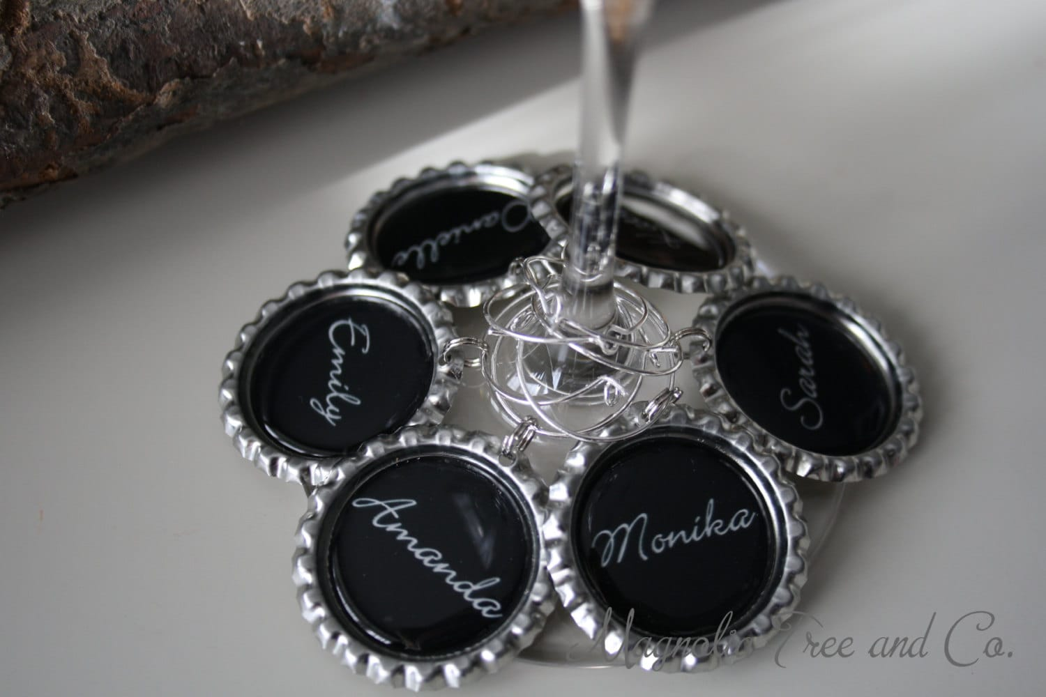 personalized wine charms set of 6 bachelorette favors