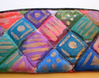 Small purse for jewelry traveling- hand painted silk accessory cluth - unique gift under 30 -  one of a kind made in the Hudson Valley