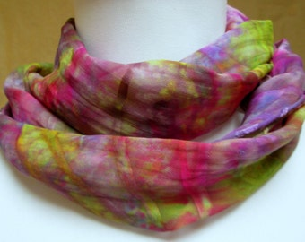 Scarf silk handpainted  accessory shawl wrap dyed-  unique gift woman wife- green violet multi color fashion designer made in the usa