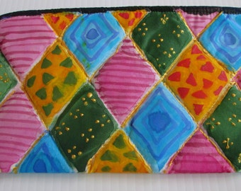 Small purse accessory quilted  hand painted silk -  unique woman wife gift under 50 -  one of a kind made in the Hudson Valley