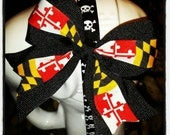 Maryland Pride: Black Base with Maryland Flag Center Stripe Hair Bow w/Tails