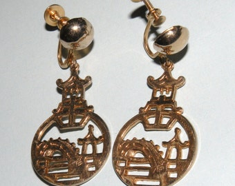 1950s Asian Motif Drop Earrings