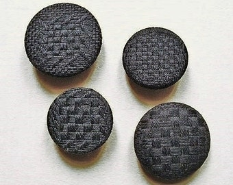 Basket weave buttons, antique, 4 different, pure black, the tone made lighter to show detail, basket weaves, no rust.  c19th. century.