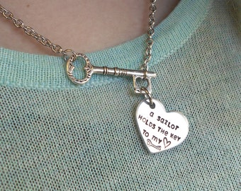 A Sailor Holds the Key to My Heart Necklace | USN Necklace | Navy Wife, Girlfriend Necklace | US Navy Jewelry |  US Navy Necklace | Milso