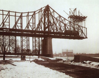 MANHATTAN and Queens NYC - Queensboro Bridge Under Construction in 1908 - Photo Art Print, Ready to Frame!