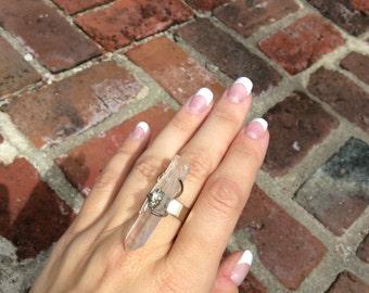 Quartz Crystal Pyrite Statement Ring