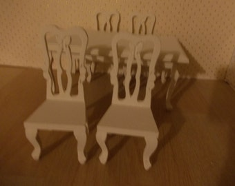 dolls house wooden chairs painted  miniature 1 12th  furniture