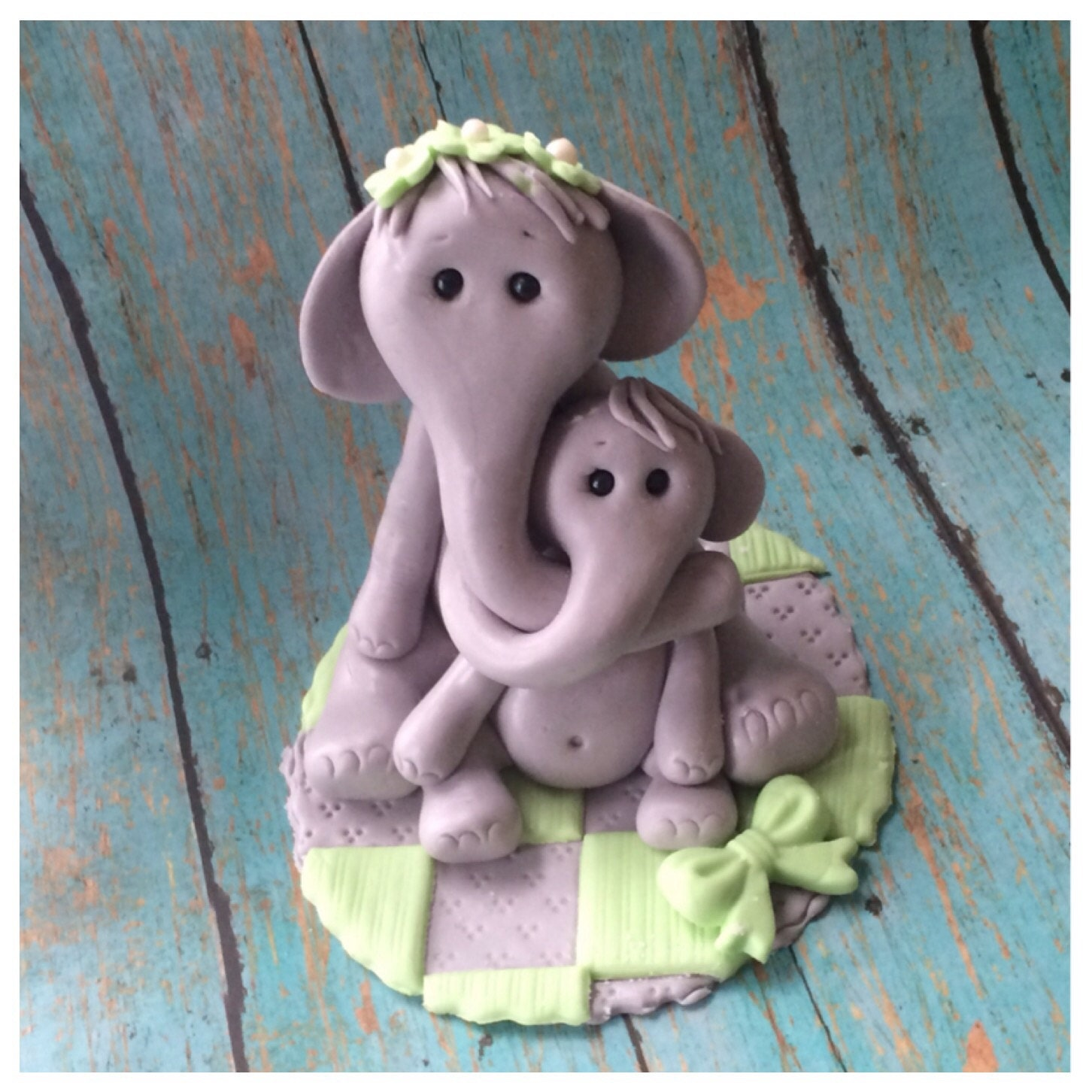 elephant cake topper baby shower fondant baby by ediblesugarart