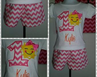 Pink Chevron Sunshine Birthday Outfit