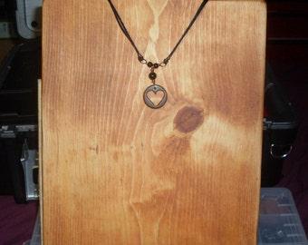 Encircled Heart Pendant Necklace Design w/Hand Carved Lignum Vitae Wood, Black Obsidian Stones, Antique Copper Wirework