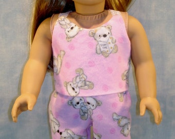 Teddy Bears on Pink Flannel Cami Jami Pajamas made to fit 18 inch dolls