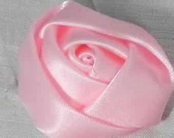 """1 1/4"""" Light Pink Satin Ribbon Rose, Trim, Wedding Supplies, Scrapbooking - 12 pieces - 32mm Light Pink Ribbon Rose"""