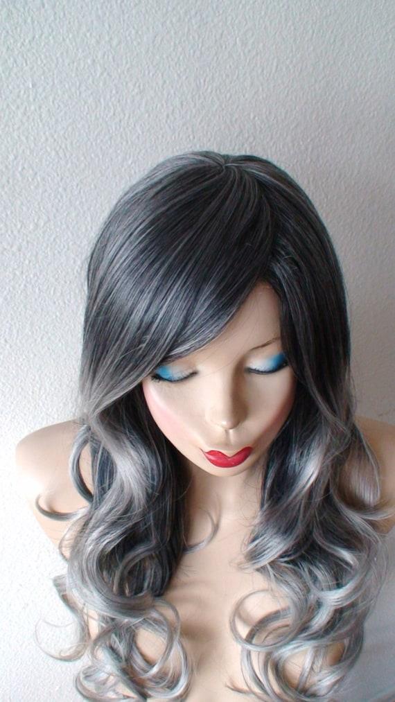 ombre per cke grau graue farbe haare langen lockigen von kekeshop. Black Bedroom Furniture Sets. Home Design Ideas