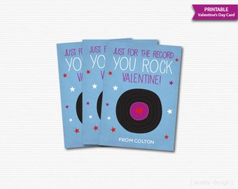 Printable Kids Valentines Cards Valentine's Day Cards Classroom Valentines You Rock Record Valentines You Rock Card Digital Personalized