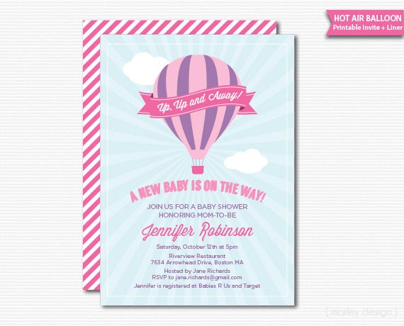 Baby girl hot air balloon baby shower printable invitation up up and il570xn filmwisefo