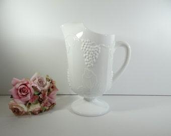 Vintage Indiana Glass Harvest Grape Milk Glass Pitcher - Lovely Large Milk Glass Pitcher