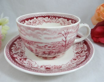 "1950 Vintage Homer Laughlin ""Currier & Ives Red"" Teacup and Saucer - 6 available"