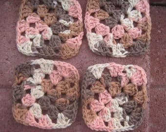 Crocheted Coasters with cotton yarn desert colors