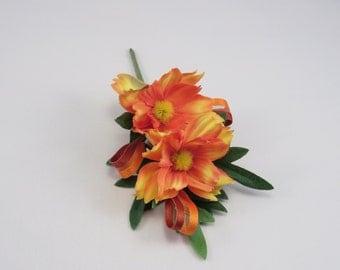 Orange Daisy Boitonniere, Gentelmen's Buttonhole.