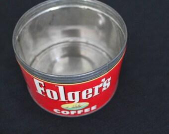 Vintage Red Yellow & White Folger's  1lb Coffee Tin USA