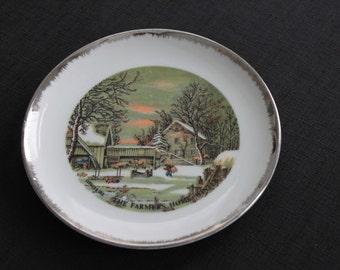 Vintage Lefton Currier & Ives Decorator Plate Winter Scene