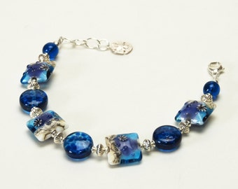 Ocean Blue Lampwork Glass Bracelet - Sterling Silver Beach Jewelry - Blue and Sand Seaside Bracelet