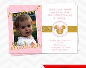 Minnie Mouse Invitation - Pink and Gold Glitter
