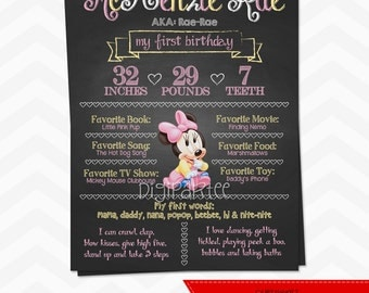 Baby Minnie Mouse Chalkboard Poster