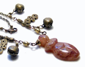Sunstone Earth Goddess Necklace Bohemian Jewelry