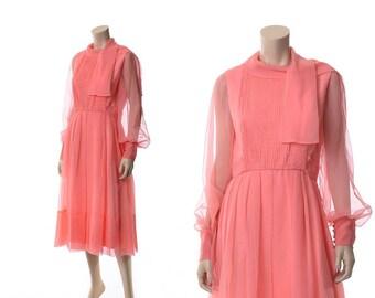 Vintage 60s Helen Rose Chiffon Dress 1960s Sheer Illusion Draped Grecian Cocktail Party Dress / M