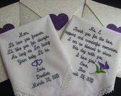 Set of 2 personalized wedding Handkerchiefs. You pick color of stitch out and saying.