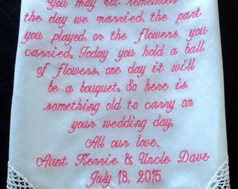 Lacy Flower Girl Handkerchief. Personalized and Embroidered Keepsake Gift From the Bride and Groom on there Wedding Day.