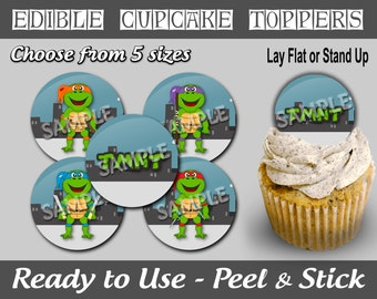 PreCut Edible Icing Frosted Image Mini Standard Cupcake Cookie Cake Lollipop Toppers Ninja Karate Turtles Inspired (NW1040)