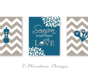 Kitchen Art Decor, Season Everything with Love Inspirational Art Prints, Chevrons, Set of (3) 5x7, 8x10 or 11x14, Khaki, SeaBlue - Unframed