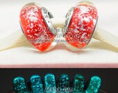 2015 New 925 Silver Snow White's Signature Color Fluorescence Charm Murano Glass Beads European Charm Beads Fits European Bracelets / ZS312