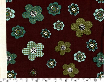 1 Yard, Green and Blue Flowers on Brown