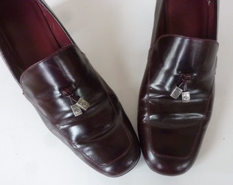 Vintage Ralph Lauren Women's Loafers 80's Cordovan Leather Chunky Heel Slip Ons Size 8 B Made in Brazil