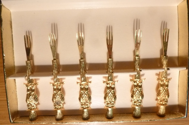 Vintage canape forks set of 6 hors d 39 oeuvre forks 24kt for Canape forks