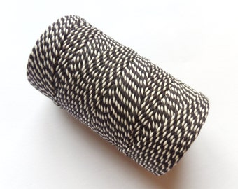 FULL SPOOL Black & White Baker's Twine - 100m