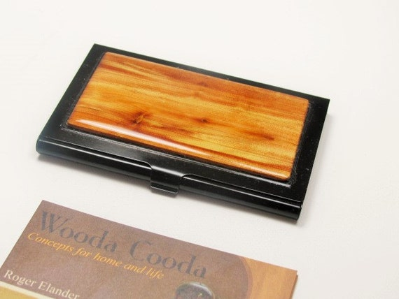 Juniper wood business card case wood card case gift for men for Juniper business card